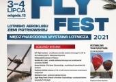 """Plakat zapraszający na Międzynarodową Wystawę Lotniczą """"Fly Fest 2021""""."""