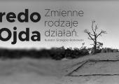 Plakat zapraszający na wernisaż wystawy: Fredo Ojda. Zmienne rodzaje działań.