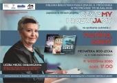 Plakat zapowiadający spotkanie autorskie z Hanną Greń w Mediatece.