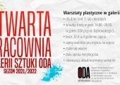 Plakat zapraszający na warsztaty plastyczne w ODA.