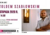 Plakat zapowiadający spotkanie online z Witoldem Szabłowskim.