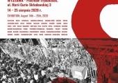 """Plakat zapraszający na wystawę """"Tu rodziła się Solidarność""""."""