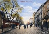 Pocztówka z dawną ulicą Kaliską; źródło: dawnypiotrkow.pl