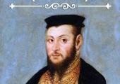 """Plakat zapraszający do obejrzenia wystawy """"Zygmunt II August 500-lecie""""."""